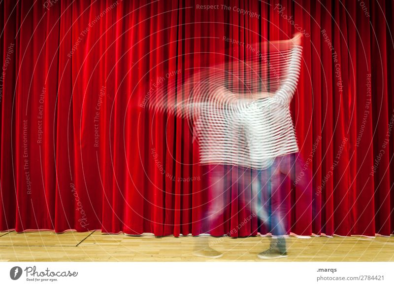 improv Man Adults 1 Human being Stage play Dance Jeans Drape Stripe Red White Movement Improvise Colour photo Interior shot Copy Space left Copy Space right