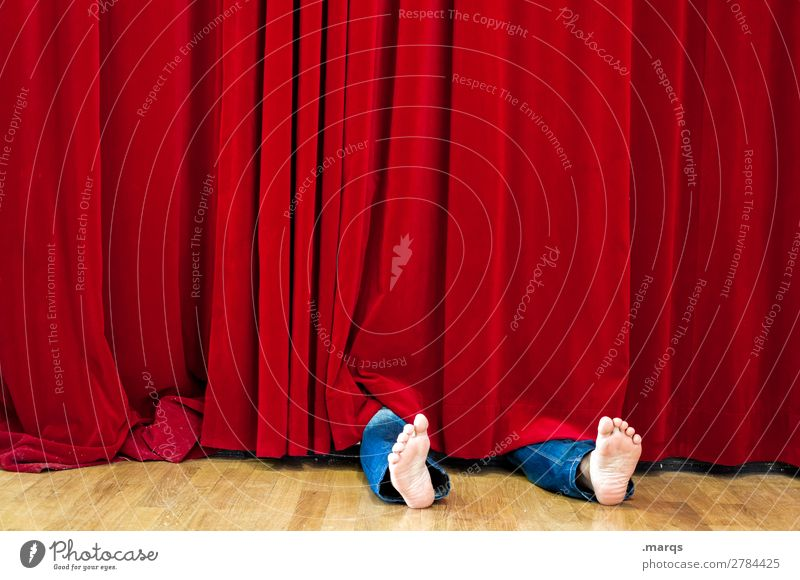 The murderer did it. Human being Adults Feet 1 Stage Actor Event Cinema Drape Lie Red Black Whimsical Death Stage play Velvet Corpse Murder Unconscious