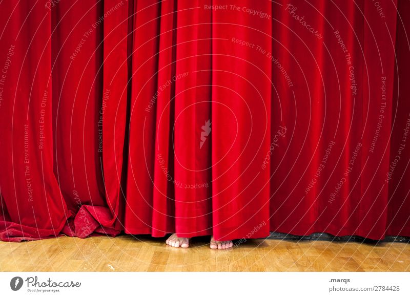 One Man Show Entertainment Feet 1 Human being Stage Drape Movie hall Exceptional Funny Hide Hiding place Red Colour photo Interior shot Copy Space left