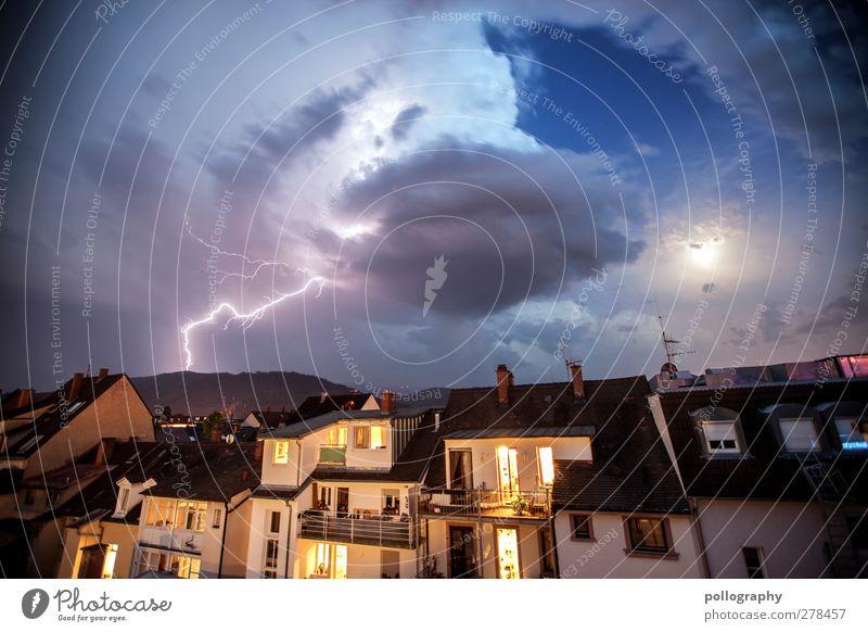holy kimbam Sky Clouds Moon Summer Bad weather Storm Rain Thunder and lightning Lightning Hill Mountain Freiburg im Breisgau Downtown