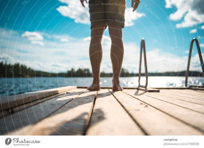 Man standing on a wooden walkway by the lake Healthy Wellness Relaxation Swimming & Bathing Vacation & Travel Freedom Summer Summer vacation Sun Beach Ocean