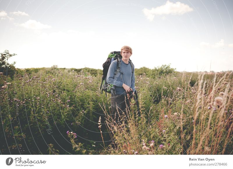 Backpacker Human being Young man Youth (Young adults) Man Adults 1 18 - 30 years Environment Nature Landscape Plant Sky Clouds Horizon Spring Summer Weather