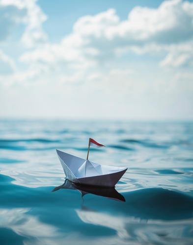 A paper boat Joy Happy Healthy Well-being Swimming & Bathing Vacation & Travel Tourism Far-off places Freedom Summer Summer vacation Beach Ocean Sailing Sky