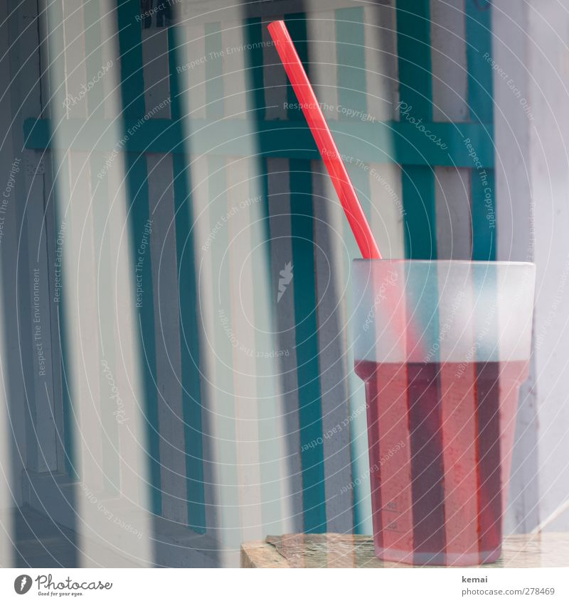 summer drink Beverage Cold drink Lemonade Juice Mug Glass Straw Vacation & Travel Tourism Beach Summer Fresh Delicious Red Turquoise Stripe Colour photo