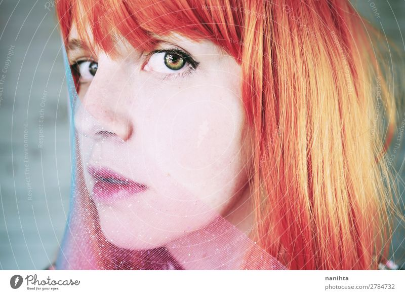 Artistic portrait of a young redhead woman Woman Human being Youth (Young adults) Young woman Beautiful 18 - 30 years Face Adults Feminine Emotions Style