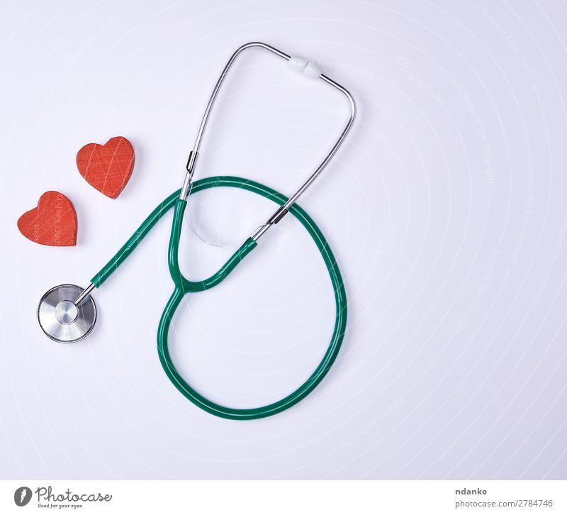 green medical stethoscope Healthy Health care Medical treatment Illness Medication Hospital Heart Listening Small Green Red White background cardiac Diagnosis