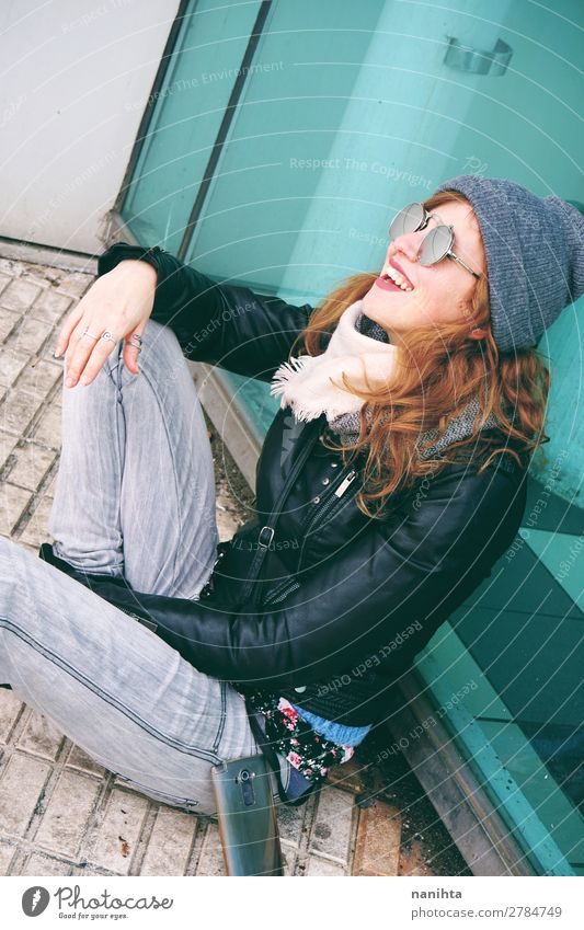 Cool young woman enjoying the day outdoors Woman Human being Youth (Young adults) Young woman Town Beautiful Joy Winter 18 - 30 years Lifestyle Adults Feminine