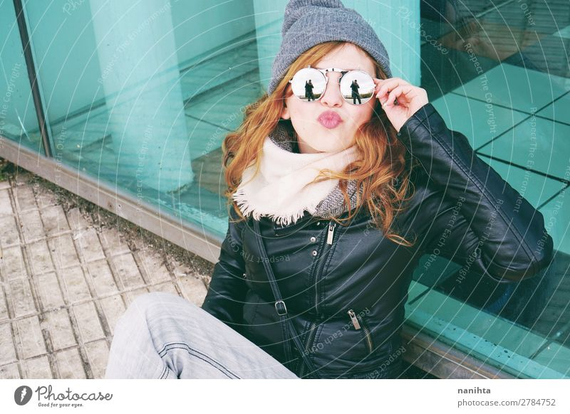 Young cool woman enjoying the day outdoors Lifestyle Style Joy Happy Beautiful Hair and hairstyles Leisure and hobbies Winter Human being Feminine Young woman