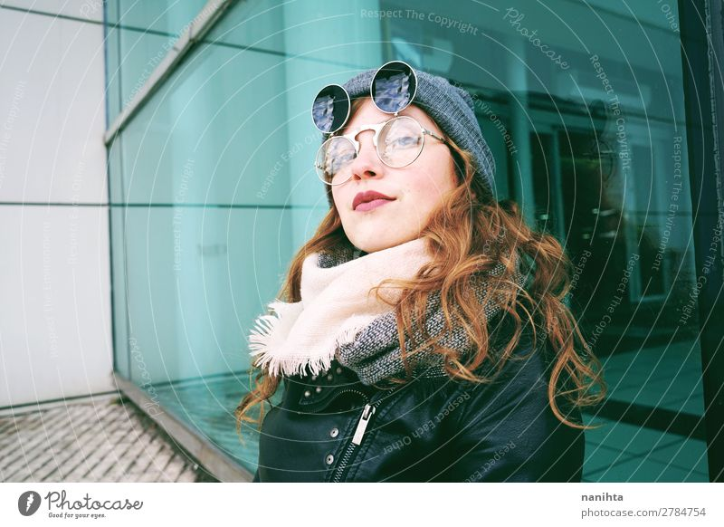 Young cool woman enjoying the day outdoors Lifestyle Style Beautiful Leisure and hobbies Winter Human being Feminine Young woman Youth (Young adults) Woman