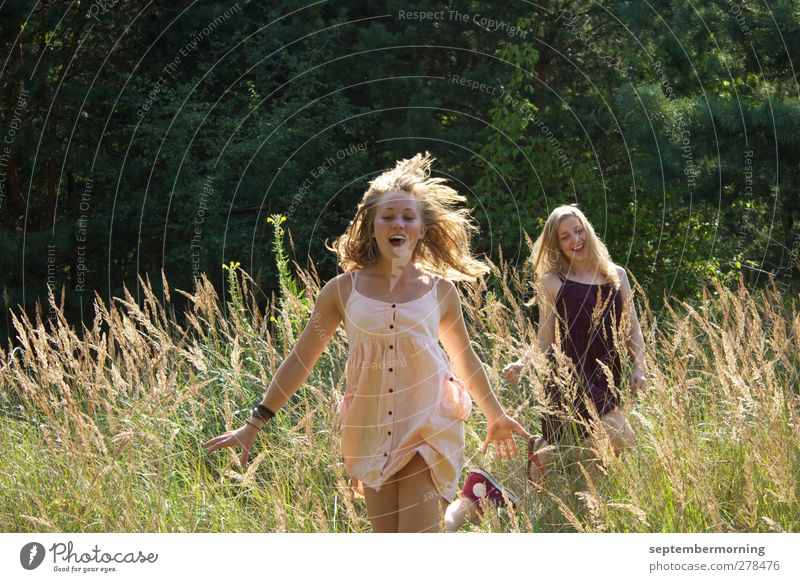 A feeling of summer III Feminine Youth (Young adults) 2 Human being 18 - 30 years Adults Nature Summer Meadow Dress Blonde Movement Smiling Happiness