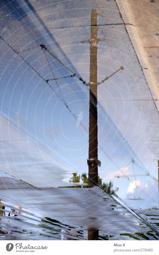 Water Street Wet Electricity pylon Puddle High voltage power line
