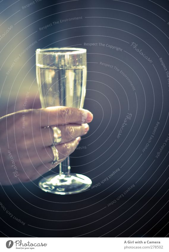 Well then ..... Beverage Alcoholic drinks Sparkling wine Prosecco Glass Hand 1 Human being Fluid Positive Moody Joy Joie de vivre (Vitality) Enthusiasm