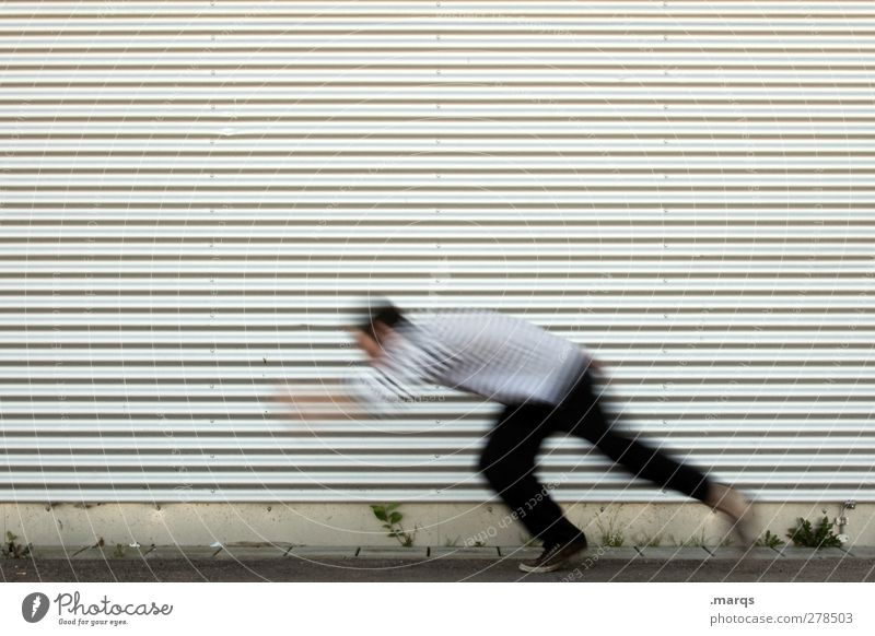 lightning start Human being Facade Running Speed Colour photo Exterior shot Neutral Background Motion blur Haste Copy Space top 1 Person Individual Only one man