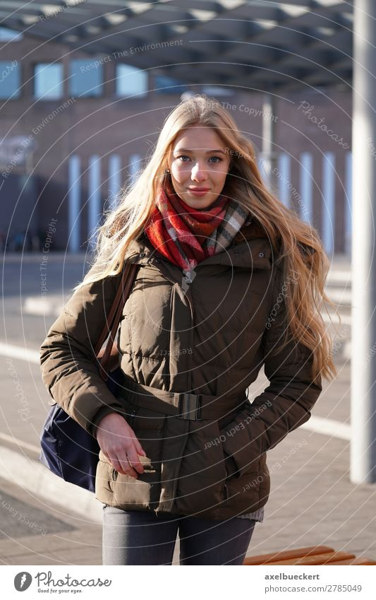 Young woman waiting at the bus station Lifestyle Style Winter Human being Feminine Youth (Young adults) Woman Adults 1 13 - 18 years 18 - 30 years