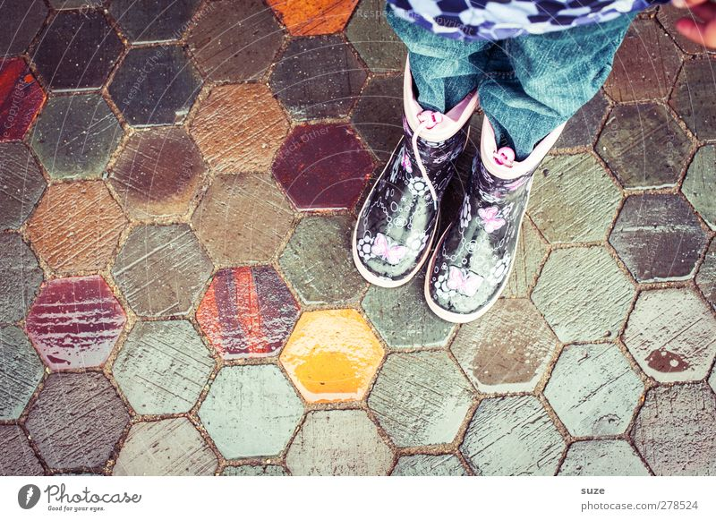 Human being Child Autumn Lanes & trails Legs Fashion Feet Rain Weather Infancy Footwear Wait Wet Stand In pairs Clothing