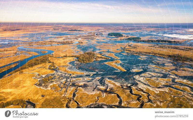 Spring melting river flood aerial panorama. Overflow water Vacation & Travel Nature Blue Beautiful Water White Landscape Tree Forest Winter Far-off places