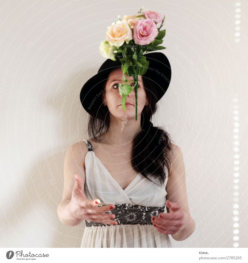 flying flowers Feminine Woman Adults 1 Human being Dress Belt Hat brunette Long-haired braid Observe Catch Flying Looking Wait Exceptional already Passion