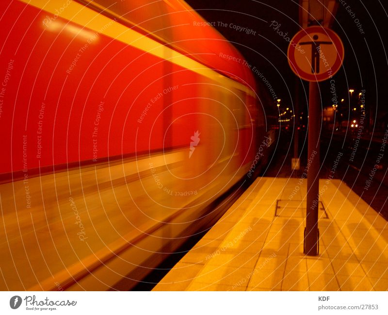 Red Signs and labeling Speed Railroad Stop End Railroad tracks Home Bans Hold Platform Arrival Night shot Night Prohibition sign Ski-run