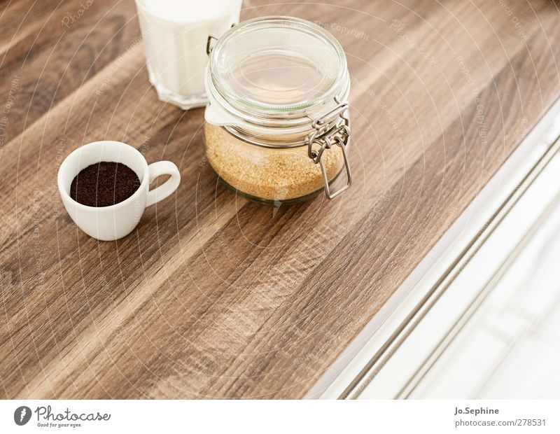 delicious breakfast Food Brown sugar Breakfast To have a coffee Beverage Hot drink Milk Coffee Latte macchiato Espresso Cup Glass Preserving jar Lifestyle