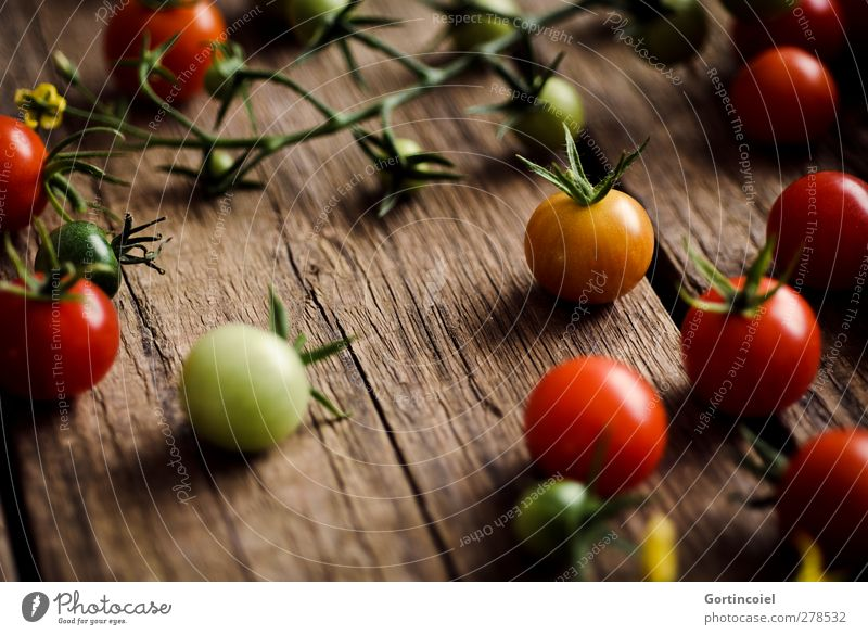 Healthy Natural Food Fresh Nutrition Food photograph Vegetable Harvest Organic produce Tomato Country life Vegetarian diet Wooden table Table Cocktail tomato