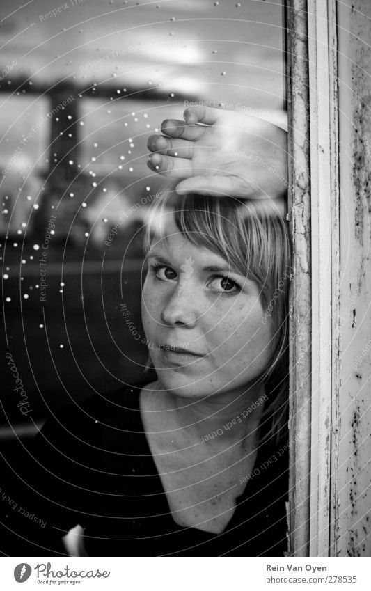 Reflection Human being Feminine Young woman Youth (Young adults) Woman Adults Face 1 18 - 30 years Moody Serene Patient Calm Window Blonde Black & white photo
