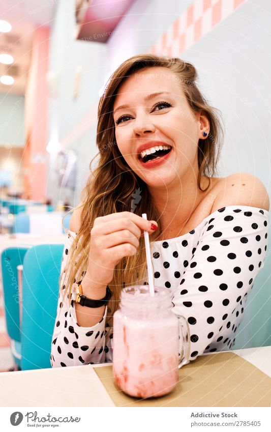 Pretty girl in an american restaurant fifties Retro Vintage pretty Restaurant Woman Model Pin up Youth (Young adults) Portrait photograph Beautiful Café Style