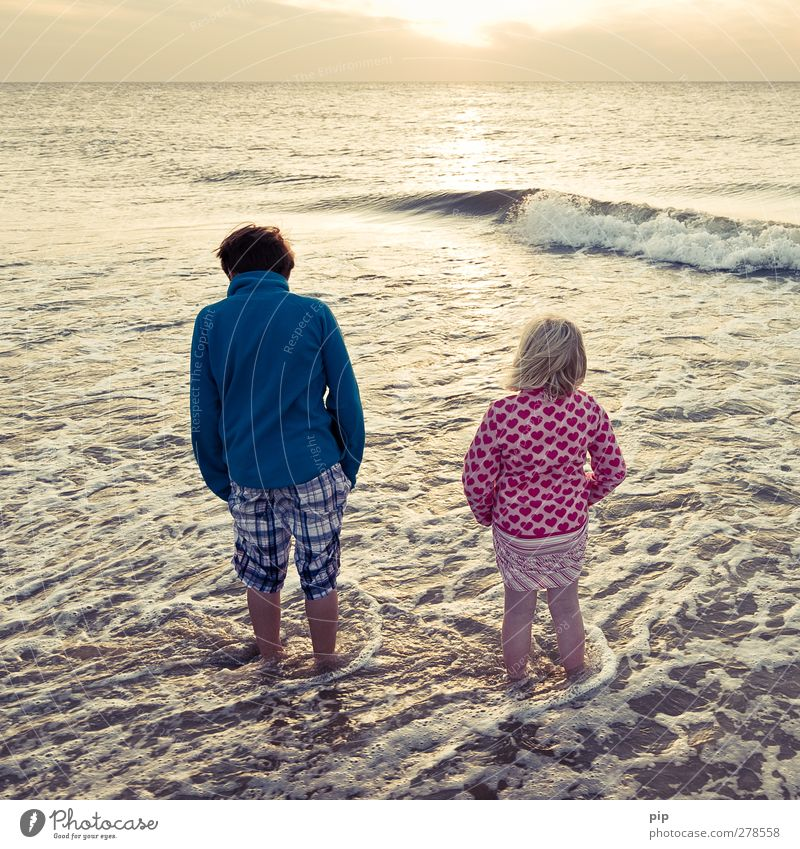 end of vacation Human being Girl Boy (child) Brother Sister Infancy Feet 2 Nature Summer Beautiful weather Waves Coast North Sea Ocean Looking Stand Wanderlust