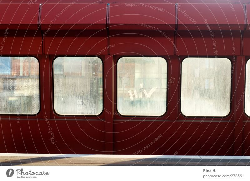 HIV Traffic infrastructure Passenger traffic Train station Platform Red Boundary Barrier Colour photo Exterior shot Deserted Subway station Window