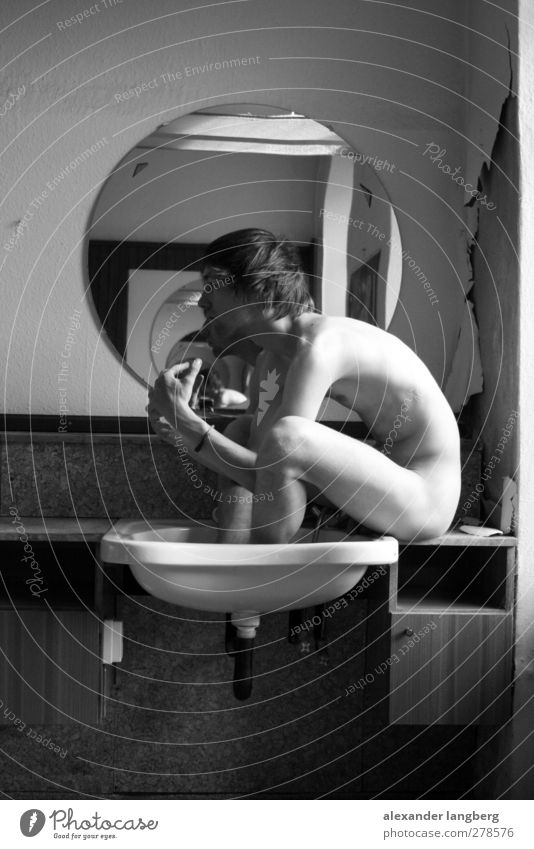 the naked hairdresser Masculine Bizarre Calm Beautiful Black & white photo 1 Person Individual Only one man One young adult man Adults 18 - 30 years Naked