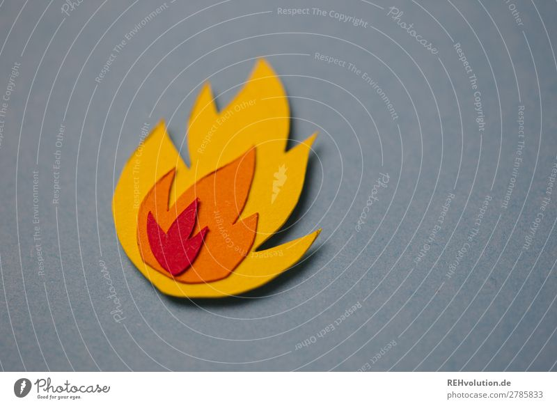 fiery Fire Symbols and metaphors Paper Home-made Flame Sign background Gray Burn Blaze Hot Warmth Dangerous peril Threat Illustration Passion Neutral Background