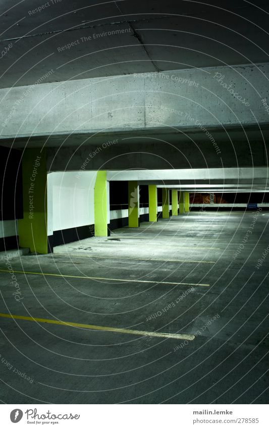 multi-storey car park Parking garage Threat Dirty Dark Sharp-edged Cold Town Yellow Black White Subdued colour Copy Space bottom Night Artificial light