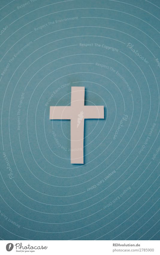 cross Sign Exceptional Religion and faith Belief Crucifix Christian cross Christianity Paper Creativity Home-made Blue Simple Colour photo Interior shot