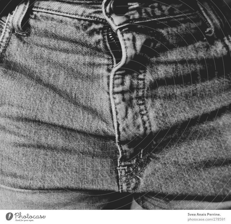 Jeans. Young woman Youth (Young adults) 1 Human being 18 - 30 years Adults Fashion Zipper Wrinkles Pants zipper Buttons Cloth Black & white photo Interior shot