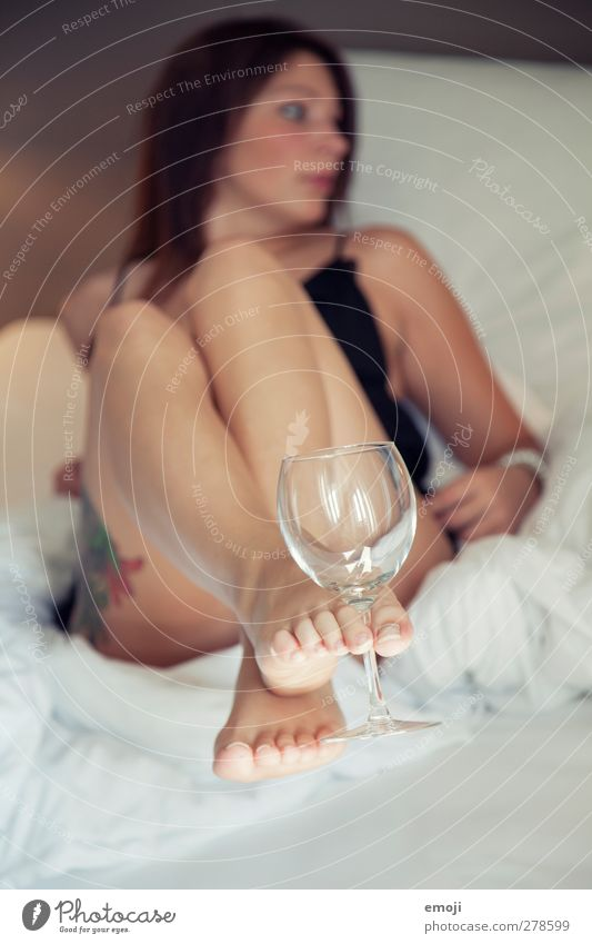 \\\ Glass Feminine Young woman Youth (Young adults) 1 Human being 18 - 30 years Adults Underwear Eroticism Wine glass Alluring Colour photo Interior shot Day