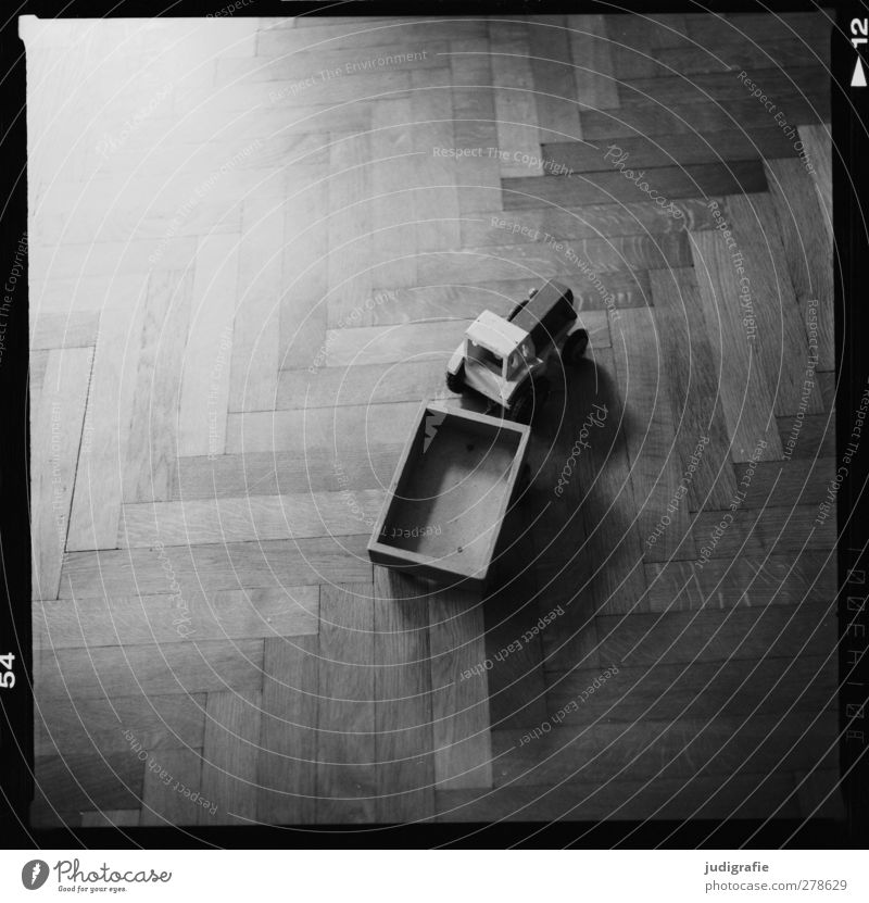 Tractor and trailer Playing Living or residing Trailer Toys Wood Old Infancy Past Parquet floor Black & white photo Interior shot Day