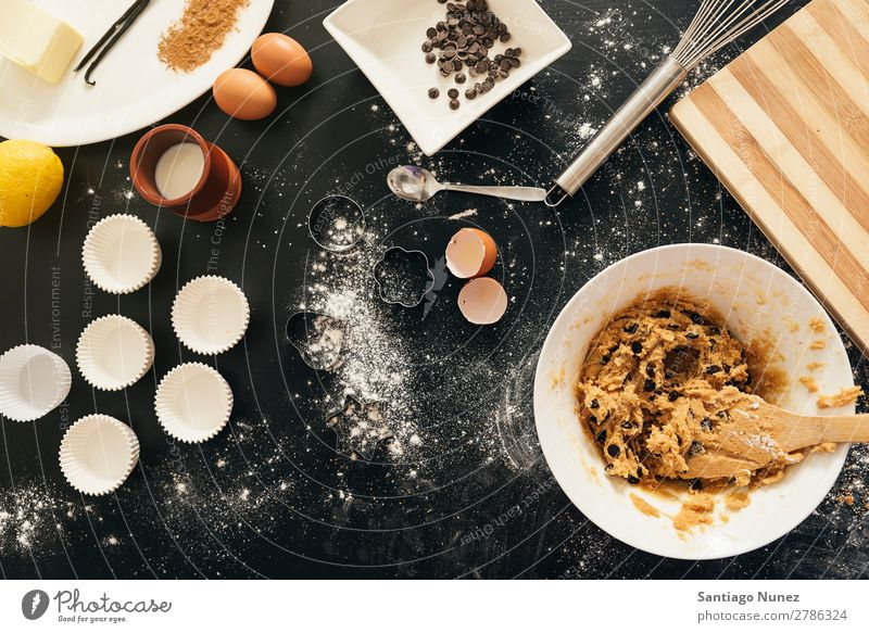 Background -  Preparing Cookies And Muffins. Baking Hand biscuit chef Woman Decoration Delicious Home-made Cooking Egg Sugar Butter Lemon Flour Food utensil