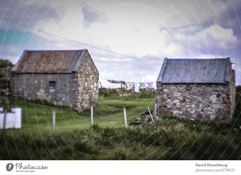 mountain huts Vacation & Travel Sky Clouds Grass Village House (Residential Structure) Building Blue Brown Gray Northern Ireland Laundry Dry Fence Old Rustic