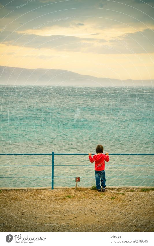 Human being Child Nature Blue Summer Ocean Loneliness Red Clouds Far-off places Yellow Coast Horizon Infancy Wind Island