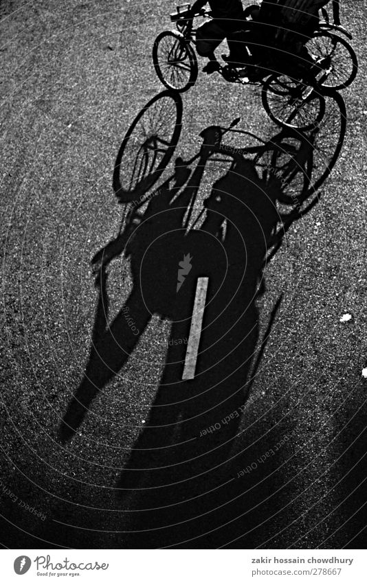 shadow Lifestyle Work and employment Workplace Street Bicycle Independence life Black & white photo Abstract Evening Deep depth of field Looking into the camera
