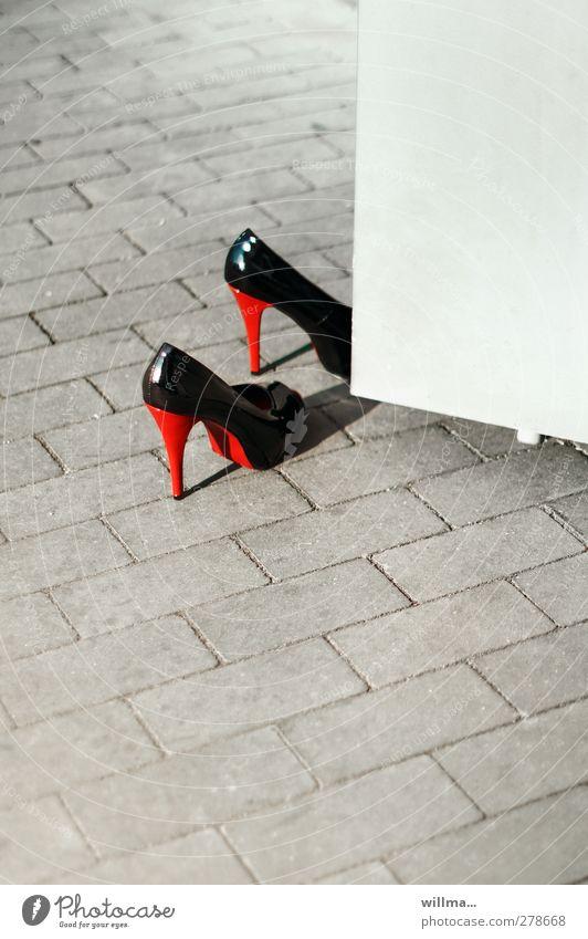 High heels on an open door - business start-up? high heels heel shoes Elegant Going out Footwear Red Black Heel of a ladies' shoe Entrance Existence