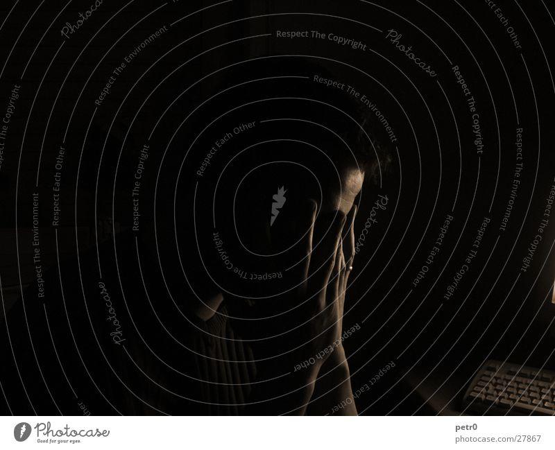 Man Hand Dark Fingers Grief Circle Forehead Silhouette