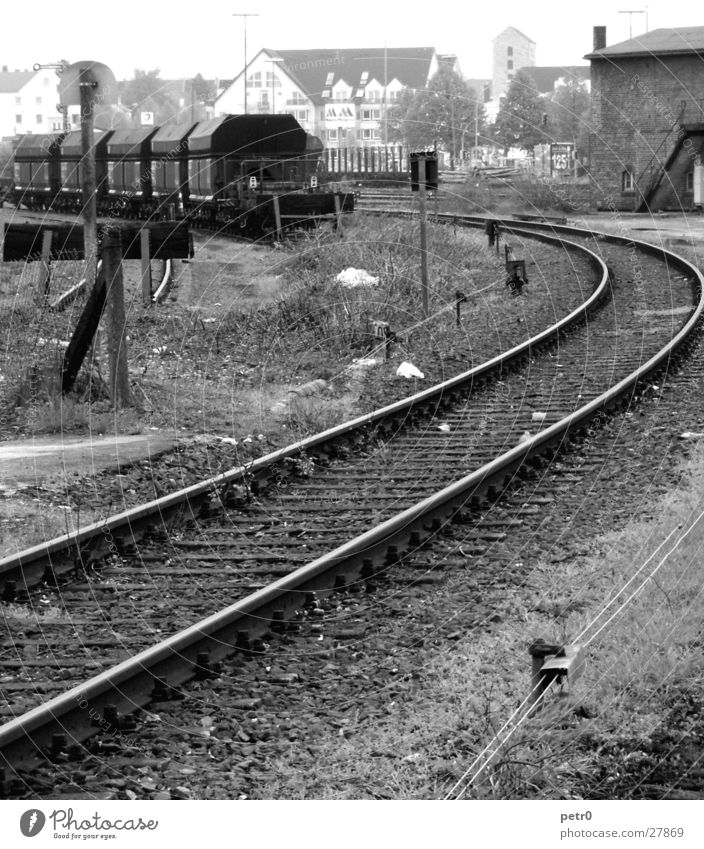 siding Railroad tracks Railroad car Building rubble Gloomy Transport buffer stop Train station Cable sleepers Industrial Photography