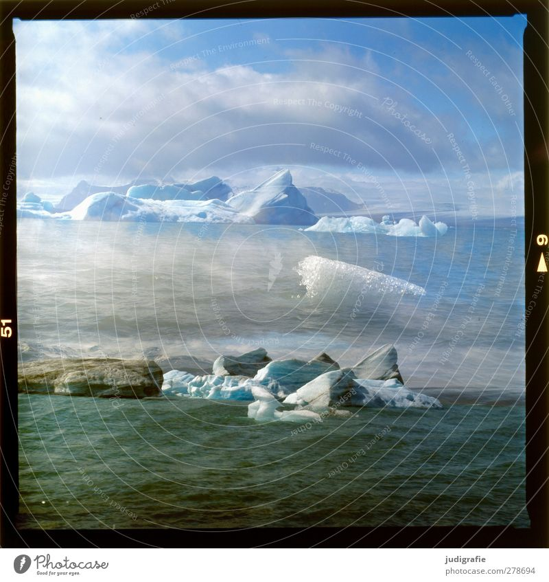 Iceland Environment Nature Landscape Water Climate Frost Glacier Lake Jökulsárlón Swimming & Bathing Exceptional Cold Wild Moody Transience Change Iceberg