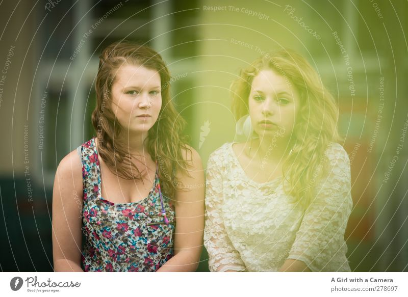 Human being Child Youth (Young adults) Feminine Young woman Hair and hairstyles Dream Friendship Together Contentment 13 - 18 years Sympathy
