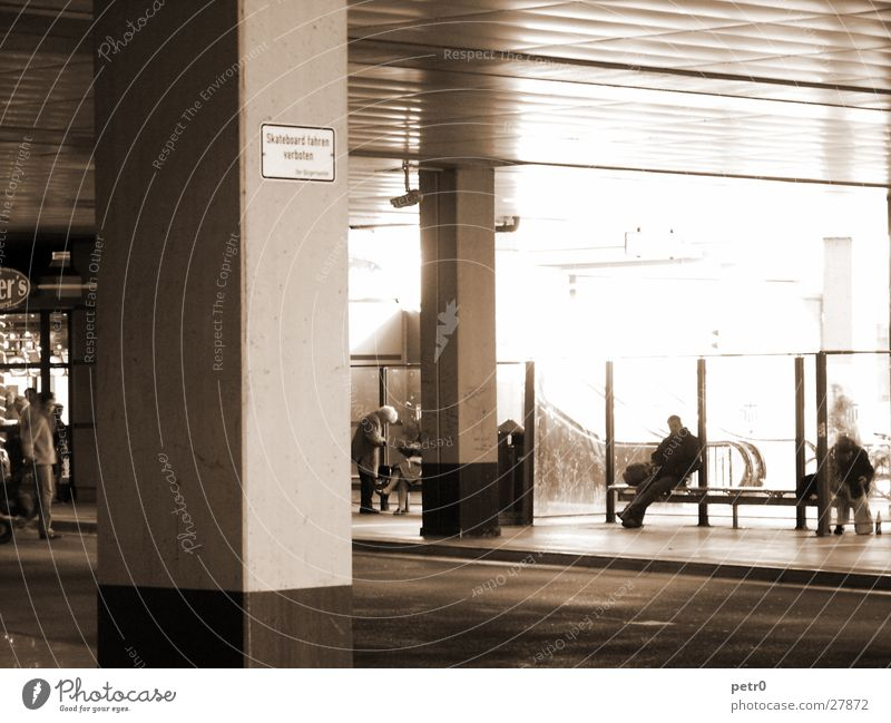 Human being Architecture Signs and labeling Concrete Gloomy Asphalt Station Column Escalator Bus terminal