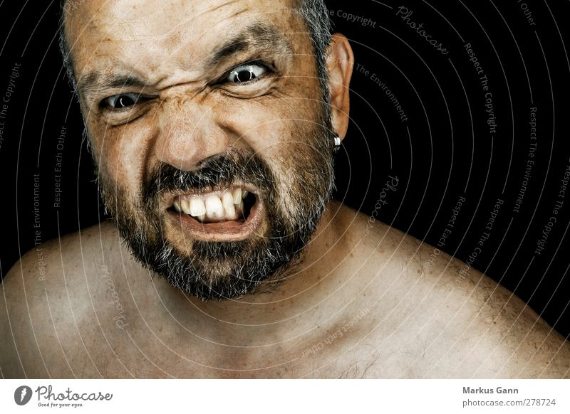 Human being Man Adults Face Emotions Head Moody Exceptional Masculine Threat Teeth Wrinkle Anger Force Facial hair Stress