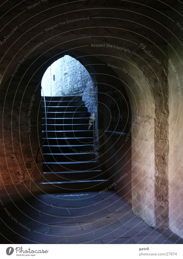 Old Stone Religion and faith Stairs Historic Way out Arch Monastery House of worship Arcade Catacomb