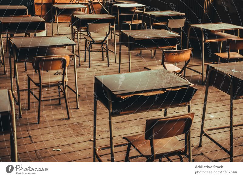 Room with old school desks - a Royalty Free Stock Photo from ...