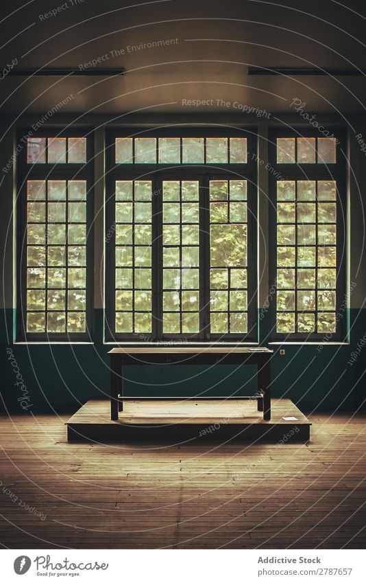 Table on stand in room Room composition Wood Stand Empty Window big Construction Broken Furniture Old Building Deserted Ruin Vantage point Creepy Trash