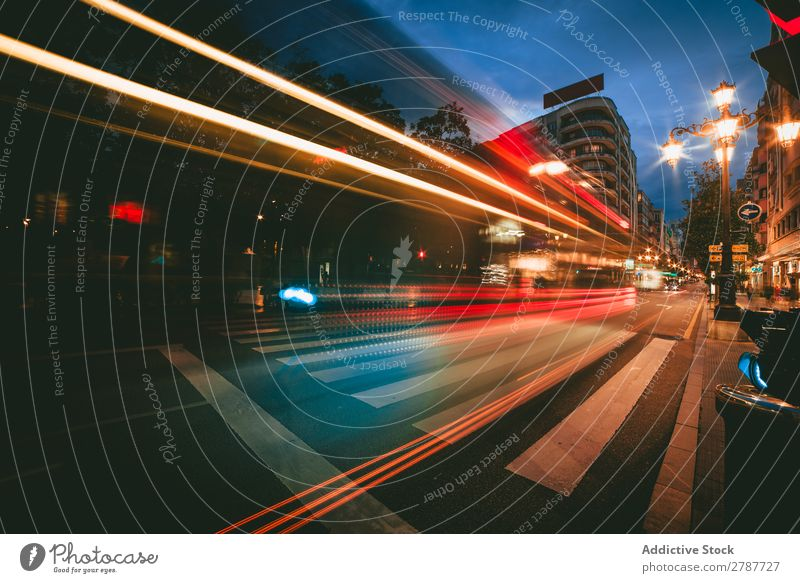View of abstract shines on road in city at night Abstract Street City Night Vantage point Light Line Bright Lanes & trails Town Evening Dark Glittering Blur